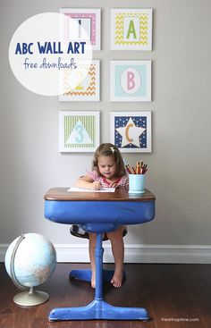 Today I'll be sharing this darling ABC wall art for the play room. School starts Monday, so I thought it would be fun to set up a little work station for the kids with this Abc Wall, Vinyl Shutters, Interior Design Books, Metal Tree Wall Art, Inspirational Wall Art, Kid Spaces, Hanging Art, Free Design, Diy Design