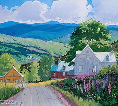 """Louise Martineau - """" Les lupins sur la côte, Baie-Saint-Paul """" Cool Landscapes, Beautiful Landscapes, Landscape Paintings, Canadian Painters, Canadian Art, Art Bleu, Art Gallery, Naive Art, Colorful Paintings"""