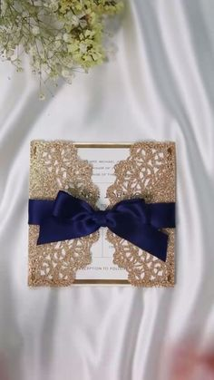 rose gold and navy blue laser cut wedding invitations