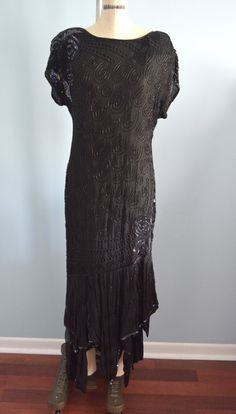 Vintage Silk Beaded Open Back BLACK Dress Hipster by cougarvintage, $129.00 Free Shipping US
