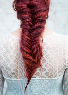 obsessed with this bridal hairstyle ~ the ultimate fishtail braid and rockin' red hair. From a punk rock styled wedding fashion shoot at Graffiti Warehouse in Baltimore, MD