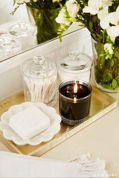 Bathroom Storage With Soap Dish and Glass Canisters