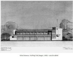 Octav Doicescu - Yachting Club Snagov, Romania, 1930 Yacht Club, Romania, Pencil, Ink, Architecture, Artwork, Painting, Outdoor, Arquitetura