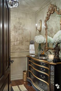 Joy Tribout Interior Design, beautiful powder room decor and vanity. Like this wallpaper Home Design, Powder Room Decor, Powder Rooms, Beautiful Bathrooms, Glamorous Bathroom, Bathroom Inspiration, Design Inspiration, Dresser Inspiration, Painted Furniture