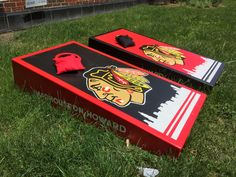 "https://flic.kr/p/vYfuFb | ""Madhouse On Howard""  Blackhawks cornhole boards 