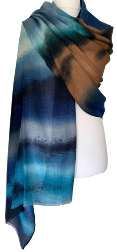 Gorgeous large lightweight wrap / shawl with a graduated colour block / stripe print in shades of blue and brown. Excellent quality, long, wide and super soft with lightly feathered fringing to the ends, the fabric drapes and falls beautifully. Very versatile as large enough to be worn in a number of different styles. Measurements approx. : 71 inch / 180 cm in length, approx. 35.5 inch / 90 cm wide. Free UK delivery Color Blocking, Colour Block, Pashmina Wrap, Draped Fabric, Navy Stripes, Shawls And Wraps, Stripe Print, Shades Of Blue, Different Styles