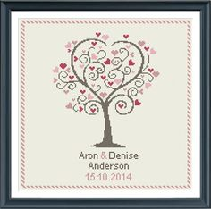 Wedding cross stitch pattern love tree customizable by Happinesst
