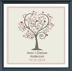 Wedding cross stitch pattern love tree customizable by Happinesst