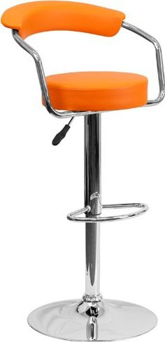 Flash Furniture 2 Pack Contemporary Vinyl Adjule Height Bar Stool With Arms And Chrome Base