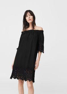 Off-shoulder poplin dress -  Woman | MANGO Macedonia
