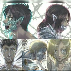 Eren, Ymir, Bertholdt, Reiner & Annie//Shingeki No Kyojin~💎 Attack On Titan Funny, Attack On Titan Ships, Attack On Titan Fanart, Otaku Anime, Manga Anime, Anime Art, Ymir, Ereri, Titan Shifter