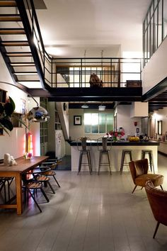 A Dream Loft in Bagnolet, France   #interior #design #exterior #interiordesign #style #fashion #furniture #bathroom #living-room #urbanstyle #appartment #loft #dining room #bedroom #architecture #industrial design #loft #house #balcony #veranda #creativeworkspace #lamp #table #chair #arm-chair #miss-design #missdesign #miss design