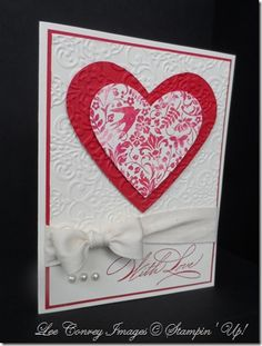 handmade Valentine card ... clean and simple ... lets the stamped image take center stage ... lovely bow ... embossing folder texture ... Stampin' Up!