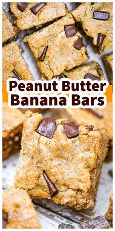 Peanut Butter Banana Bars Best Dessert Recipes, Healthy Desserts, Easy Desserts, Homemade Chocolate, Chocolate Recipes, Paleo Cookies, Bar Cookies, Paleo Ice Cream, Vegan Frosting