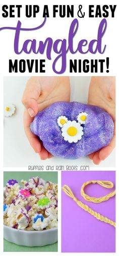 Rapunzel Movie, Tangled Movie, Tangled Rapunzel, Disney Activities, Fun Activities For Toddlers, Book Activities, Movie Night Party, Movie Nights, Disney Dishes