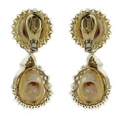 Pre-owned 18K Yellow Gold & Diamond South Sea Pearl Drop Earrings ($10,995) ❤ liked on Polyvore featuring jewelry, earrings, diamond accent earrings, diamond dangle earrings, yellow gold diamond earrings, gold fine jewelry and drop earrings