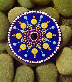 Hand Painted Wood Magnet ~ Mandala Dot art~ Blue,Yellow~ Great gift idea ~Miranda Pitrone by P4MirandaPitrone on Etsy
