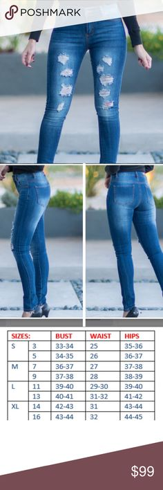 """Coming soon distressed skinny jeans Coming soon distressed skinny jeans with lots of stretch. 28"""" inseam 67% cotton, 31% polyester, 2% spandex. Price will change when item becomes available for purchase. boutique Jeans Skinny"""