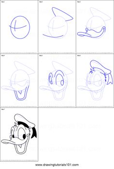 How to Draw Donald Duck Face from Mickey Mouse Clubhouse Printable Drawing Sheet by DrawingTutorials101.com