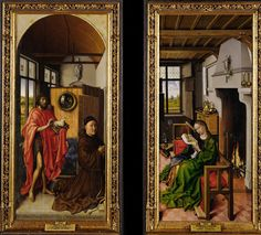 Von Werl Altarpiece: John the Baptist and the Franciscan Theologian Heinrich von Werl, and Saint Barbara, 1438, by Robert Campin