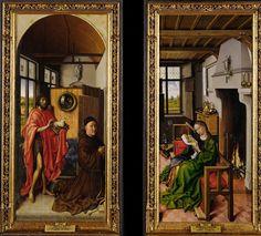 Von Werl Altarpiece: John the Baptist and the Franciscan Theologian Heinrich von Werl, and Saint Barbara, 1438, by Robert Campin
