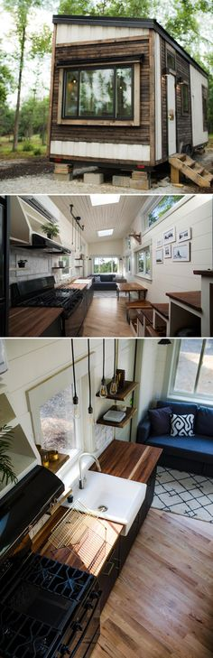 Legacy by Wood & Heart Building Co. - Tiny Living The Legacy is the debut tiny house from Colton Ronzio at Wood & Heart Building Co. Three skylights and thirteen windows provide plentiful natural light. Best Tiny House, Tiny House Plans, Tiny House On Wheels, Design Exterior, Casas Containers, Little Houses, Tiny Houses, Tiny Spaces, Tiny House Living