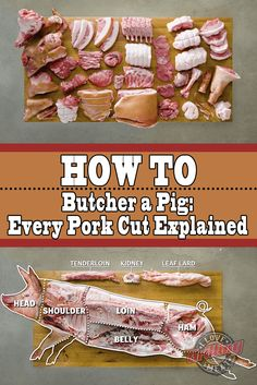 How To Butcher a Whole Pig (Every Pork Cut Explained) gerichte meat cuts dishes loaf recipes Pork Meat, Pork Cuts Of Meat, Pork Cuts Chart, Meat Loaf, Meat Butcher, Butcher Shop, Raising Farm Animals, Pigs Raising, Pork Recipes