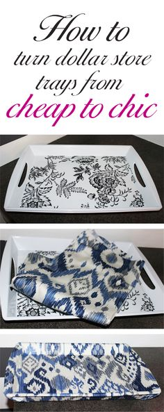 Online Interior Design: DIY Ikat Tray  Check out my blog to see how to transform dollar store trays into this for cheap.