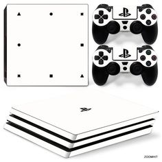 PS4 Pro Playstation 4 Skin Decal Sticker White Classic + 2 Controller Skins Set #Zoomhit