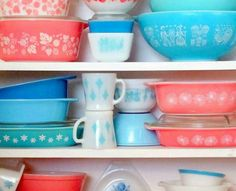 Stacks of vintage Pyrex.