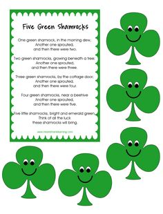 "FREE MISC. LESSON - ""Five Green Shamrocks"" - Go to The Best of Teacher Entrepreneurs for this and hundreds of free lessons.  http://thebestofteacherentrepreneurs.blogspot.com/2013/03/free-misc-lesson-five-green-shamrocks.html"