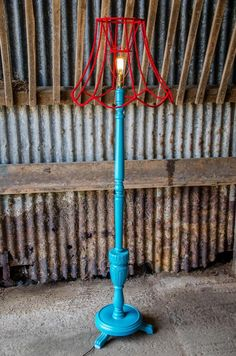 Upcycled standard lamp with crazy, contemporary colours equals one fabulously contemporary floor light and skeleton shade! Produced by @Refunkd (www.refunked.com), posted during #UpcycledHour Tuesday 8-9pm on Twitter.