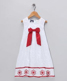 Take a look at this White & Red Embroidered Bow Dress - Toddler & Girls by So La Vita on #zulily today!