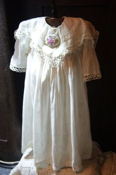 Old dress for the antique dolls about 30 inches in height + petticoat + brooch!
