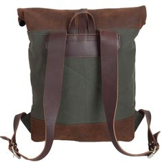canvas leather roll top rucksack