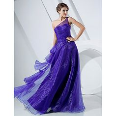 A-line One Shoulder Floor-length Organza Evening/Prom Dress – USD $ 88.49