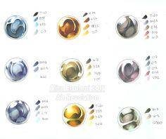 Marker Kunst, Copic Marker Art, Copic Art, Sketch Markers, Copic Marker Color Chart, Copic Sketch, Digital Painting Tutorials, Art Tutorials, Metal Drawing