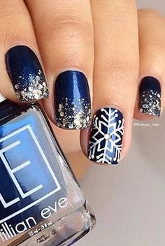 How To Try The Navy Blue and Silver Glitter Winter Nails Design? - Koees Answer - How To Try The Navy Blue and Silver Glitter Winter Nails Design? Blue Nail Designs, Winter Nail Designs, Christmas Nail Designs, Blue Design, Christmas Design, Design Design, Design Ideas, Navy And Silver Nails, Blue Nails