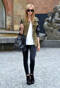 VOGUE HAUS: LEATHER SLEEVED PARKA #cargo jacket  #auutmn -  model -  legs  thighs  #camouflage,  #parka,  thin  style