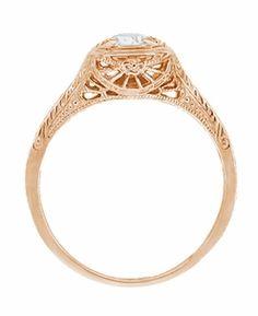 Filigree Scrolls Engraved White Sapphire Engagement Ring in 14 Karat Rose ( Pink ) Gold