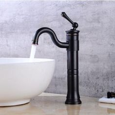 Antique Basin Tap Black Bronze Brass Rotatable Mixer Bathroom Sink Tap High Version TB0115H