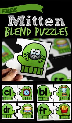 FREE Mitten Blend Puzzles - this fun learning activity comes iwth 20 blend puzzles to practice l blends, r blends, and s blends for Kindergarten, first grade, and 2nd grade students (literacy centers, homeschool)