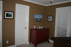 Wall paint color: New Chestnut by Behr (One step down from Burnt Almond on the paint strip.)