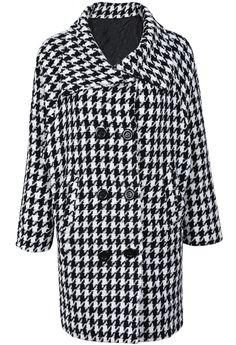 Abrigo pata de gallo doble botonadura manga larga-Blanco y negro EUR€35.16