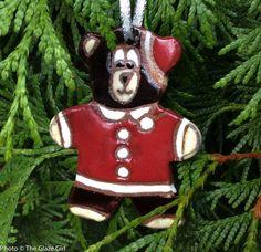 Santa Bear Ornament - Christmas Ornament - Ceramic Ornament by GlazeGirlDesigns on Etsy