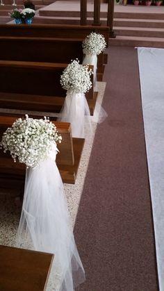 A csecsemők lélegzete - Decoration World Weding Decoration, Church Pew Decorations, Diy Your Wedding, Dream Wedding, Wedding Ceremony Flowers, Floral Wedding, Church Flowers, Wedding Chairs, Kirchen