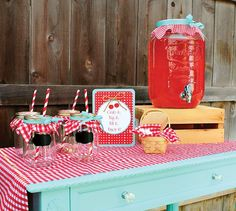 red gingham and teal