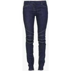 Low-rise stretch cotton-denim biker jeans | Women's pants | Balmain (51,330 PHP) ❤ liked on Polyvore featuring jeans