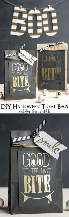 """Good to the Last Bite"" DIY Halloween Treat Bags- Includes a free ""foil ready"" printable. #Halloween"