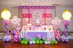 balloons, and  using stage as differing heights of tables